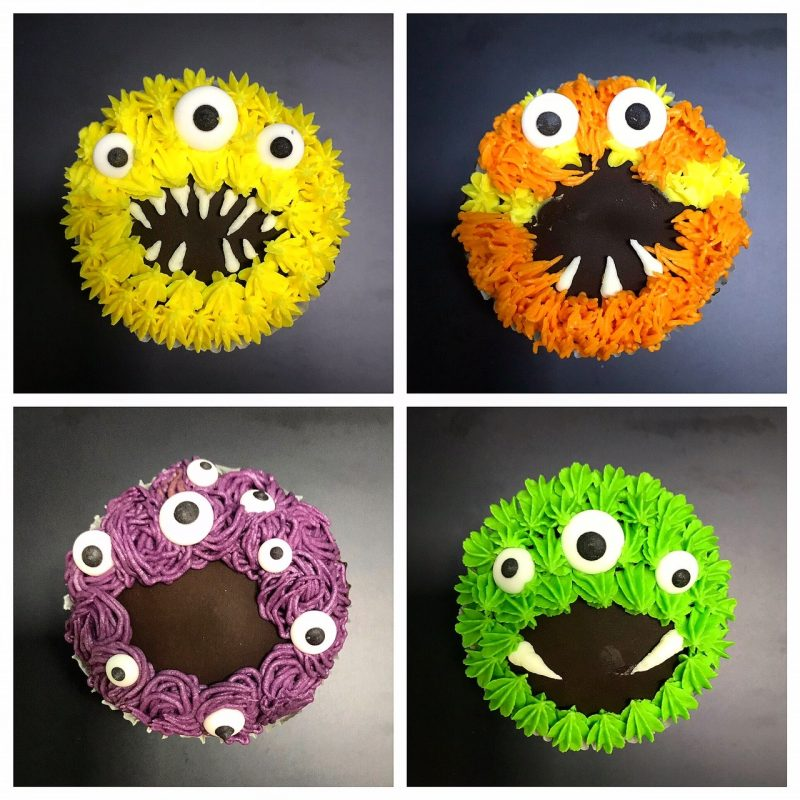 Monster ganache cupcakes